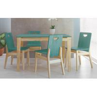 Conjunto De Jantar Com Mesa E 4 Cadeiras Tucupi 120Cm - Acabamento Stain Natural E Azul