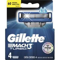 Lâminas Para Aparelho De Barbear Gillette Mach3 Turbo 4 Unidades