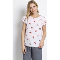 Blusa Texturizado Com Babados - Rosa Claro & Vermelha