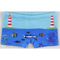 Sunga Infantil Boxer Estampada Fundo Do Mar Azul