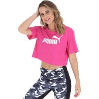 Blusa Cropped Puma Elevated Essentials Tee - Feminina - Rosa