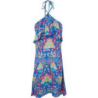Vestido Halter Floral Babado Market 33 - Azul b1742ea583d93