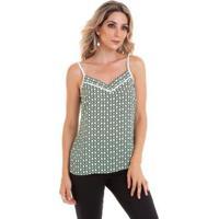 Blusa Alcinha Crepe Chiffon Estampado Feminino - Feminino-Verde