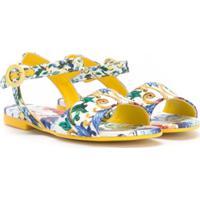 Dolce & Gabbana Kids Sandália Floral - Amarelo
