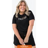 Blusa Feminina Plus Size Preto