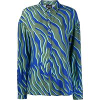 Just Cavalli Camisa Oversized Com Estampa De Zebra - Azul