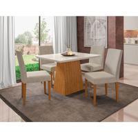 Conjunto De Mesa De Jantar Com Tampo De Vidro Bárbara E 4 Cadeiras Heloise Animalle Off White E Creme