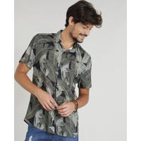 4725bfd98c CEA  Camisa Masculina Estampada Tropical Manga Curta Gola Esporte Preta