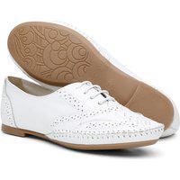 Sapato Oxford Feminino Em Couro Branco 15360