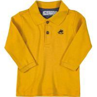 Camisa Polo Manga Longa Suedine Amarelo