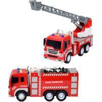 Kit Caminhão De Brinquedo Infantil Para Criança A Fricção Bombeiro Escada E Auto Bomba Bbr