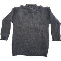Blusa Cacharrel De Tricô Infantil 0 A 12 Cinza Escuro.