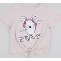 "Blusa Juvenil ""Army"" Com Nó Manga Curta Rosa Claro"