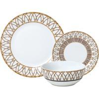 Aparelho De Jantar Wolff Bamboo 18 Peças Porcelana Branco E Dourado