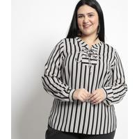 Blusa Listrada Com Amarração- Branca & Bege- Pianetapianeta