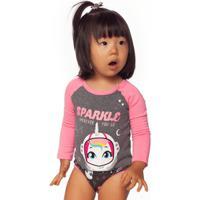 Body Manga Longa Unicórnio Baby 3 A 6M