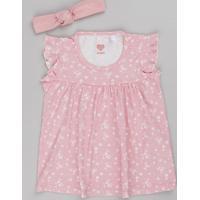 Blusa Infantil Estampada Floral Com Babado Manga Curta + Faixa De Cabelo Rosa