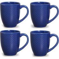 Conjunto De Canecas Pois Azul Em Cerâmica 340 Ml Com 04 Peças - Porto Brasil