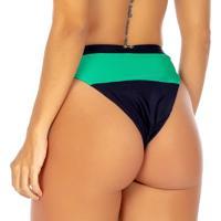 Calcinha Hot Pant Com Recorte- Preta & Verde Água- Fuse Flee