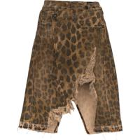 R13 Saia Jeans Norbury Com Estampa De Leopardo E Efeito Desgastado - Preto