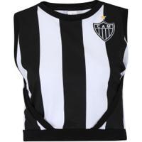 Blusa Cropped Do Atlético-Mg Little - Feminina - Preto/Branco