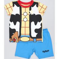 Pijama Infantil Woody Toy Story Manga Curta Amarelo