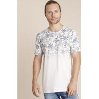 Camiseta Masculina Degradê Estampada De Folhagem Manga Curta Gola Careca Branca