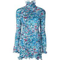 Givenchy Blusa Canelada Franzida Com Estampa Floral - Azul