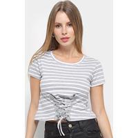 Blusa Adooro Listrada Tiras Feminina - Feminino-Cinza+Branco