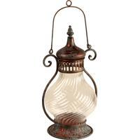 Lanterna Decorativa De Metal Envelhecido E Vidro Tadla