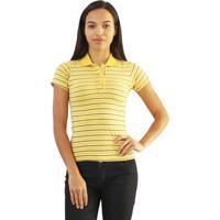 Camiseta Versatti Adriana Polo Listras Amarela