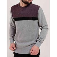 Blusão Tricot Masculino - Masculino-Bordô+Cinza