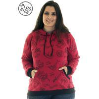 Blusão Konciny Moletom Canguru Plus Size 36522 Vermelho