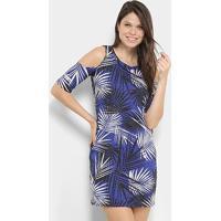 Vestido Aura Curto Ombro A Ombro - Feminino-Azul