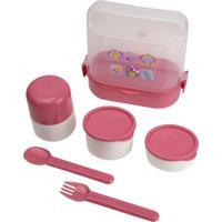 Kit Box Le Baby Com Garrafa, Garfo, Colher E Marmita Butterfly Com 6 Peças