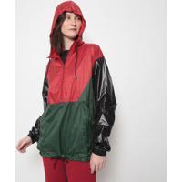 Jaqueta Com Recortes-Vermelha & Verde Escuroosklen