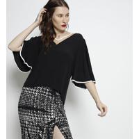 Blusa Lisa Com Recortes Em Tule- Preta & Bege- Forumforum