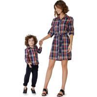 Camisa Xadrez Com Botões Infantil