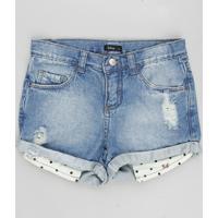 Short Jeans Infantil Minnie Com Estampa De Poá No Bolso Azul Claro