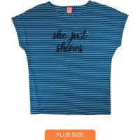 Blusa Azul Listrada Com Lantejoulas