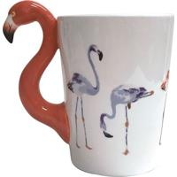 Caneca Flamingo- Branca & Coral- 350Ml- Full Fitfull Fit