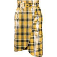 Ganni Saia Envelope Cintura Alta Xadrez - Amarelo