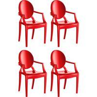 Conjunto Com 4 Cadeiras De Plástico Wind Vermelho