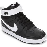 Tênis Infantil Nike Court Borough Mid - Unissex-Preto+Branco