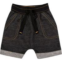 Bermuda Jeans Com Pespontos- Preta- Duduka -Primduduka
