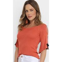 Blusa Lily Fashion Tricot Pérolas Feminina - Feminino-Coral