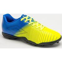 Chuteira Society Vibe- Amarelo Neon & Azul- Umbroumbro