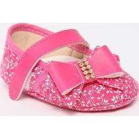 Sapato Boneca Com Laã§Os & Velcro - Pink & Branca- Titico Baby
