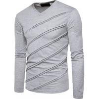 Camiseta Com Listras Em Relevo - Cinza Clara