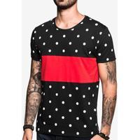 Camiseta Poá Recorte Vermelho 103112